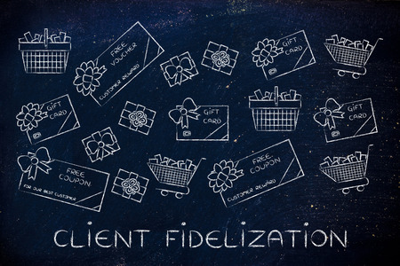 markdown: client fidelization: set of mixed gift cards, shopping carts, coupons and vouchers