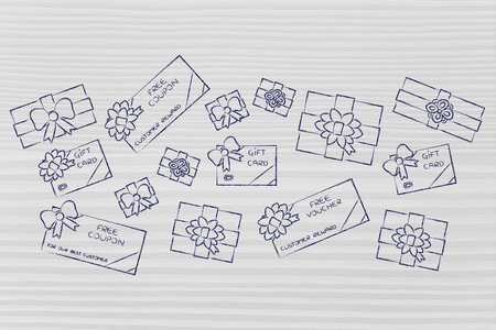 rewards card: group of presents, gift card, free vouchers and coupon; concept of rewards and customer fidelization