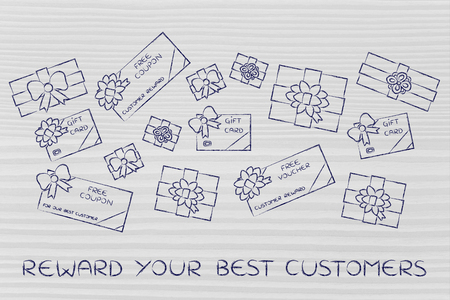 markdown: reward your best customers: group of presents, gift card, free vouchers and coupons from retailers Stock Photo