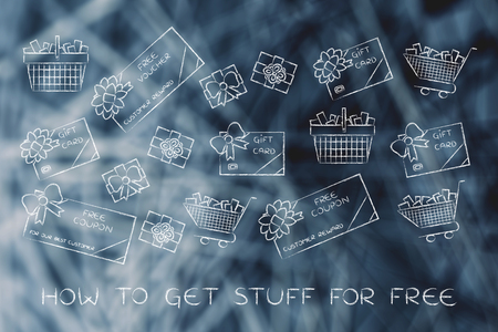 markdown: how to get stuff for free: set of mixed gift cards, shopping carts, coupons and vouchers