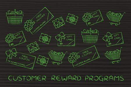 markdown: customer reward programs: set of mixed gift cards, shopping carts, coupons and vouchers