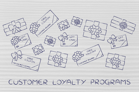 markdown: customer loyalty programs: group of presents, gift card, free vouchers and coupons from retailers