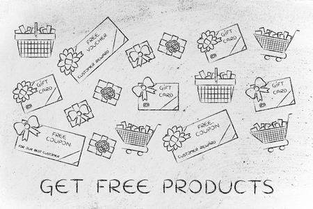 markdown: get free products: set of mixed gift cards, shopping carts, coupons and vouchers