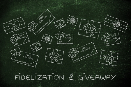 markdown: fidelization & giveaway: group of presents, gift card, free vouchers and coupons from retailers
