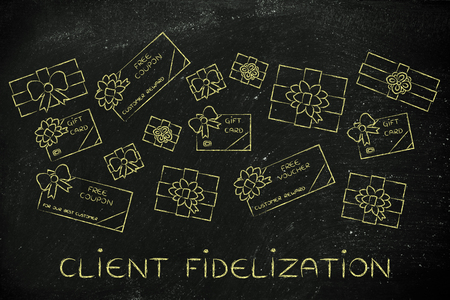 retailers: client fidelization: group of presents, gift card, free vouchers and coupons from retailers