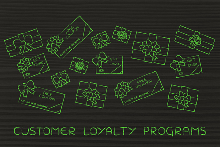 retailers: customer loyalty programs: group of presents, gift card, free vouchers and coupons from retailers