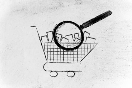 full shopping cart: shopping cart full of products with huge magnifying glass analyzing it