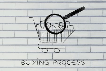 full shopping cart: buying process: shopping cart full of products with huge magnifying glass analyzing it