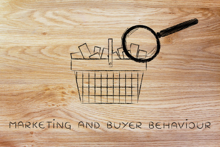 behaviour: marketing and buyer behaviour: shopping basket full of products with huge magnifying glass analyzing it
