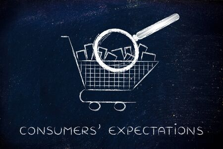 full shopping cart: customers expectations: shopping cart full of products with huge magnifying glass analyzing it Stock Photo