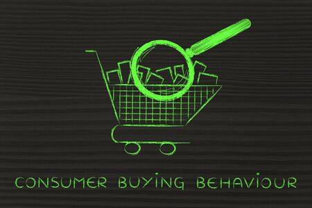 behaviour: consumer buying behaviour: shopping cart full of products with huge magnifying glass analyzing it
