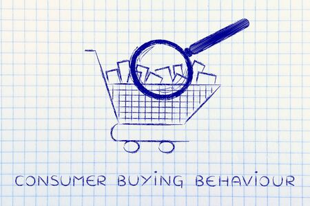 full shopping cart: consumer buying behaviour: shopping cart full of products with huge magnifying glass analyzing it