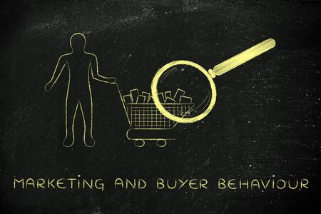 behaviour: marketing & buyer behaviour: person with shopping basket & huge magnifying glass analyzing it