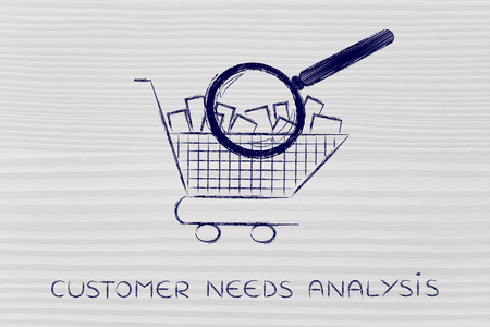 full shopping cart: customer needs analysis: shopping cart full of products with huge magnifying glass analyzing it Stock Photo