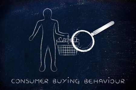behaviour: consumer buying behaviour: person with shopping basket full of products with huge magnifying glass analyzing it Stock Photo