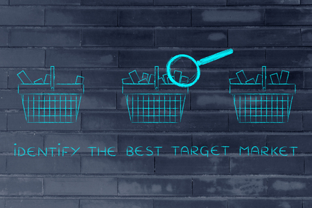 identify: identify the best target market: magnifying glass analyzing shopping baskets with different amounts of products inside (semi-empty to full)