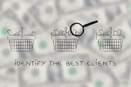 identify: identify the best clients: magnifying glass analyzing shopping baskets with different amounts of products inside (semi-empty to full) Stock Photo