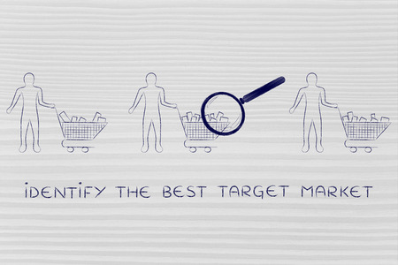 identify: identify the best target market: magnifying glass on clients shopping carts with different amounts of products inside (semi-empty to full)