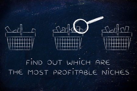 niches: find out which are the most profitable niches: magnifying glass analyzing shopping baskets with different amounts of products inside (semi-empty to full) Stock Photo