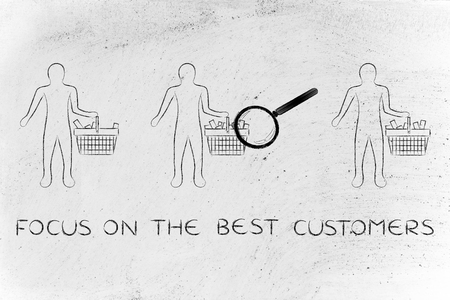 amounts: focus on the best customers: magnifying glass on clients shopping baskets with different amounts of items (semi-empty to full)