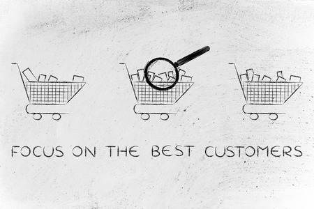 amounts: focus on the best customers: magnifying glass analyzing shopping carts with different amounts of products inside (semi-empty to full)