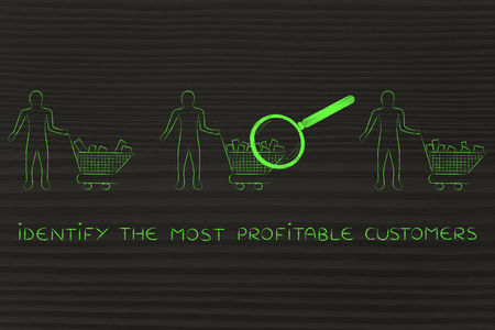 amounts: identify the most profitable customers: magnifying glass on clients shopping carts with different amounts of products inside (semi-empty to full)