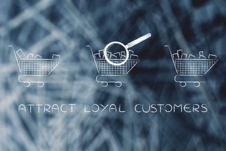 amounts: attract loyal customers: magnifying glass analyzing shopping carts with different amounts of products inside (semi-empty to full) Stock Photo