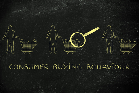 behaviour: consumer buying behaviour: magnifying glass on clients shopping carts with different amounts of products inside (semi-empty to full) Stock Photo