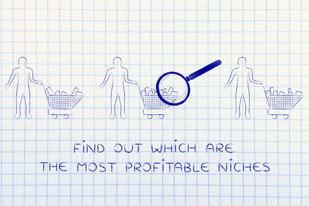 niches: find out which are the most profitable niches: magnifying glass on clients shopping carts with different amounts of products inside (semi-empty to full) Stock Photo