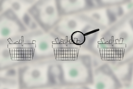 amounts: magnifying glass analyzing set of shopping baskets with different amounts of products inside (semi-empty to full)