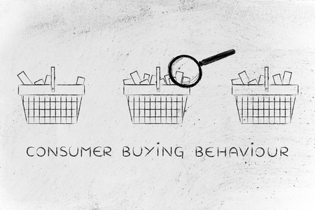 behaviour: consuer buying behaviour: magnifying glass analyzing shopping baskets with different amounts of products inside (semi-empty to full)