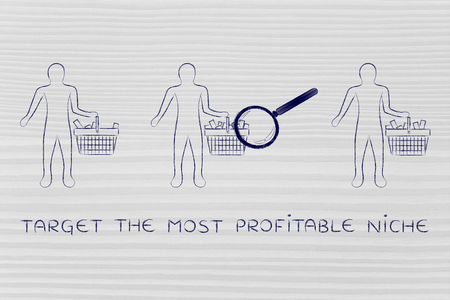 amounts: target the most profitable niche: magnifying glass on clients shopping baskets with different amounts of items (semi-empty to full) Stock Photo
