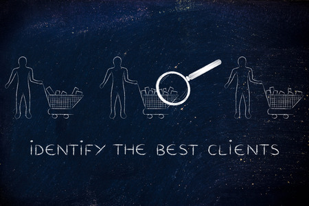 identify: identify the best clients: magnifying glass on clients shopping carts with different amounts of products inside (semi-empty to full)