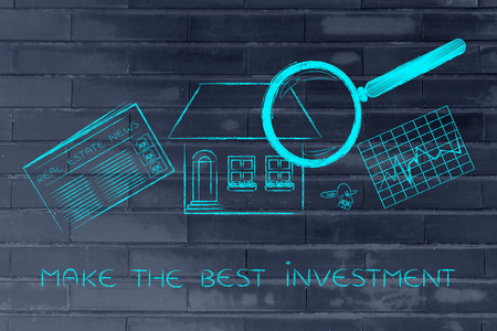 make an investment: make the best investment: magnifying glass analyzing a house, with sector newspaper, stats and keys