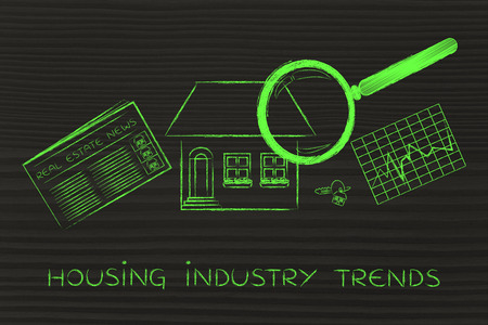industry trends: housing industry trends: magnifying glass analyzing a house, with sector newspaper, stats and keys Stock Photo