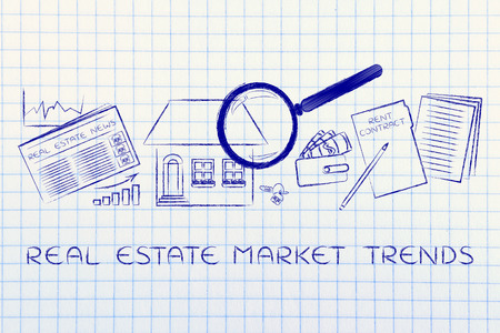 market trends: real estate market trends: magnifying glass analyzing a house, with sector newspaper, stats, keys, wallet and rent contract