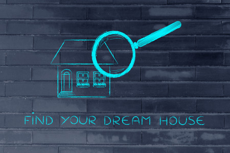 residential market: real estate market and house hunting: magnifying glass Analyzing a residential house Stock Photo