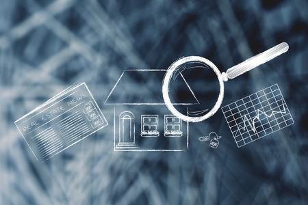 real estate investments and house hunting: magnifying glass analyzing a house, with sector newspaper, stats and keys Stock Photo