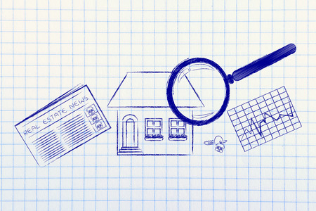 real estate investments and house hunting: magnifying glass analyzing a house, with sector newspaper, stats and keys 版權商用圖片