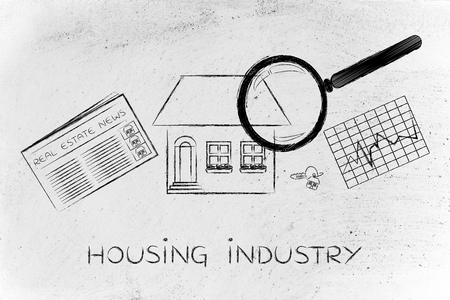 buy sell: housing industry: magnifying glass analyzing a house, with sector newspaper, stats and keys