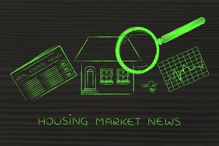 woningmarkt nieuws: vergrootglas analyseren van een huis, met krant sector, stats en sleutels Stockfoto