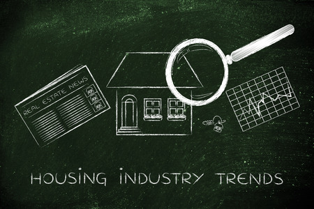 housing industry: housing industry trends: magnifying glass analyzing a house, with sector newspaper, stats and keys Stock Photo