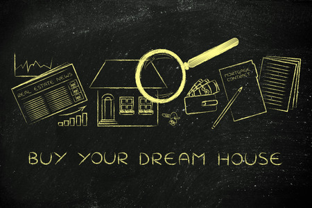 building sector: buy your dream house: magnifying glass analyzing a house, with sector newspaper, stats, keys, wallet and mortgage contract Stock Photo