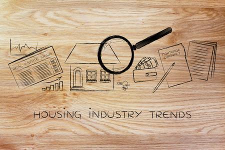 industry trends: housing industry trends: magnifying glass analyzing a house, with sector newspaper, stats, keys, wallet and contract Stock Photo