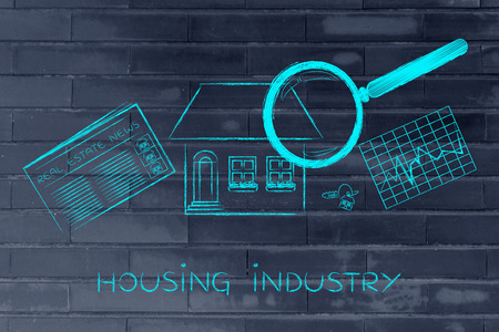 housing industry: housing industry: magnifying glass analyzing a house, with sector newspaper, stats and keys