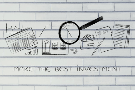 make an investment: make the best investment: magnifying glass analyzing a house, with sector newspaper, stats, keys, wallet and mortgage contract Stock Photo