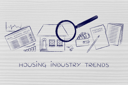housing industry: housing industry trends: magnifying glass analyzing a house, with sector newspaper, stats, keys, wallet and contract Stock Photo