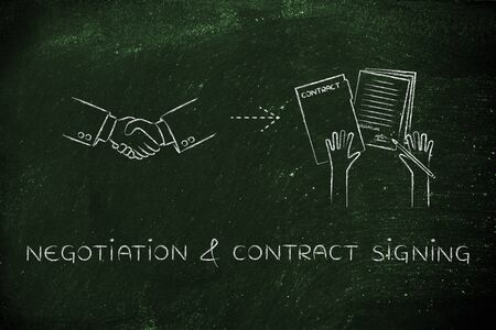 contract signing: negotiation & contract signing: handshake and hands holding signed documents Stock Photo