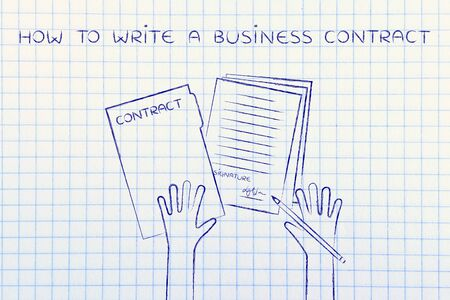 how to write a business contract: hands holding pen and signed documents, flat outline illustration