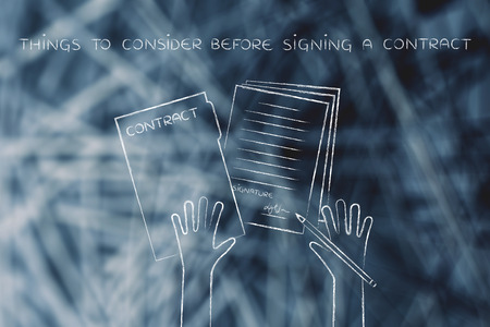 things to consider before signing a contract: hands holding pen and signed documents, flat outline illustration